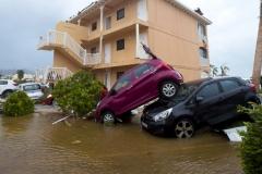 USVI Storm Damage Stacked Cars